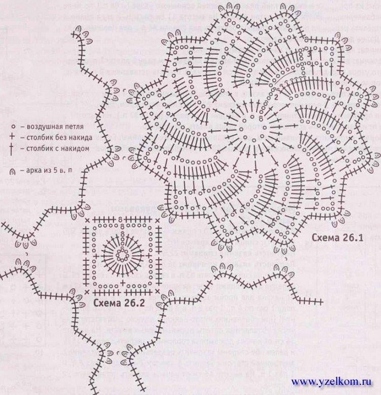 Выполнение работы: связать 24 круговых мотива по схеме 26.1 и 16 соединительных квадратов по схеме 26.2.