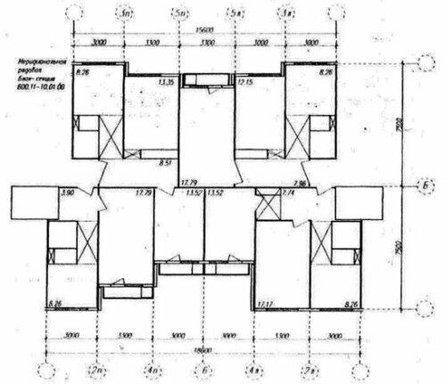 Планировка стандартной секции панельной серии 600.11.