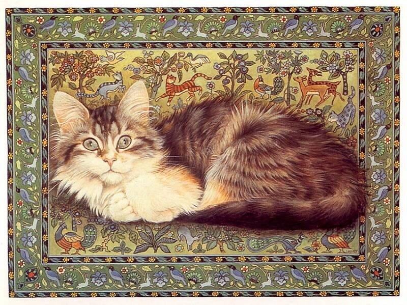 "Схема вышивки  ""Подушка кошки "" ."