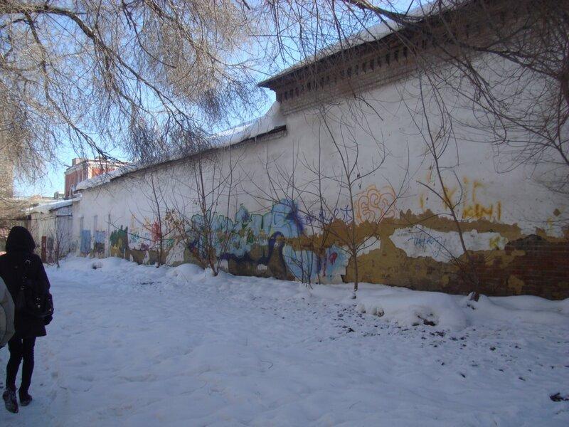 Северная стена комплекса в современных наскальных рисунках
