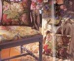 Рукоделие Рукодельки Подушка3.  Вышитая розами подушка - цветная схема.