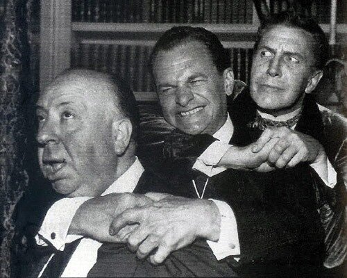 Alfred Hitchcock, James Gregory and Vincent Price.