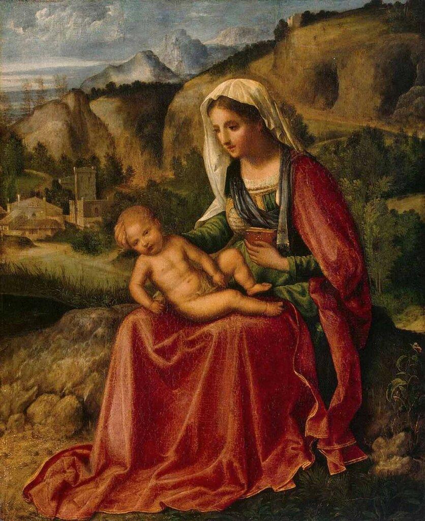 «Мария с младенцем на фоне пейзажа»