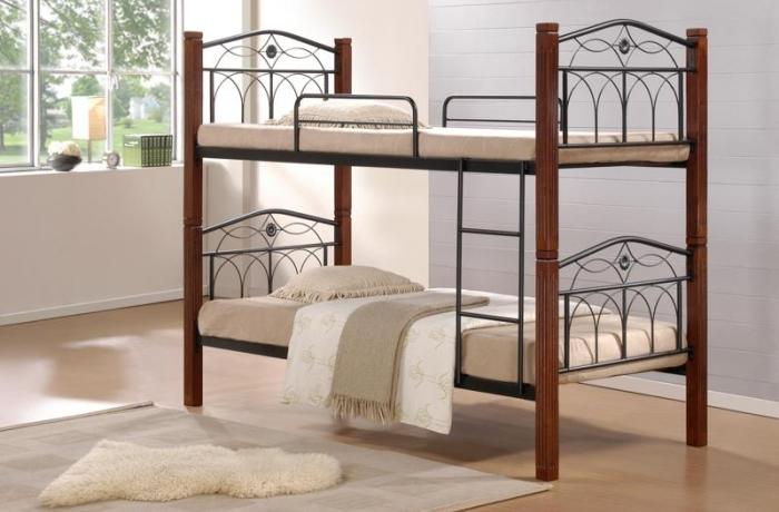 двухъярусная коричневая кровать