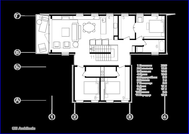 План второго этажа. Гостиная, Столовая, Спальня, Кухня, Гардеробная, Ванная, Лестница, Детская, Балкон, Коридор