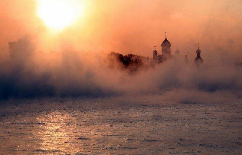 утро Москва-река Печатники Николо-Перервинский монастырь.