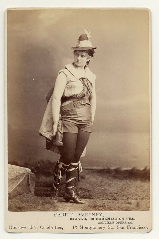 1890. Carrie McHenry as Jako in Bohemian Gy-url [sic], Colville Opera Company.