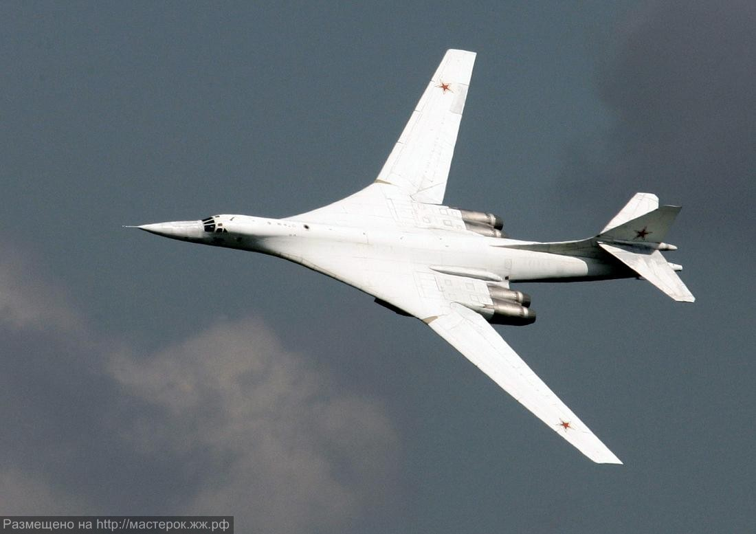 A Tupolev TU-160 strategic bomber performs a demonstration flight in Zhukovsky