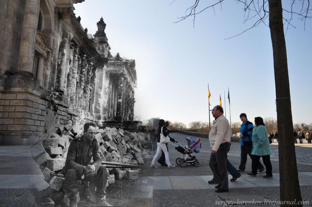 37 Берлин 1945-2010. Немецкий солдат у поверженного Рейхстага..jpg