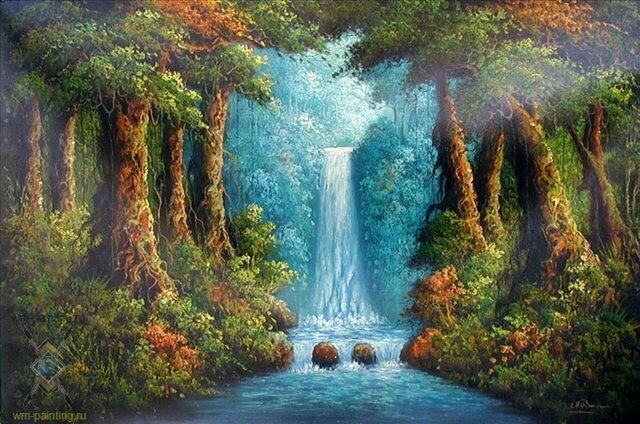 """Схема вышивки  """"Водопад в лесу - Гобанг """" ."""