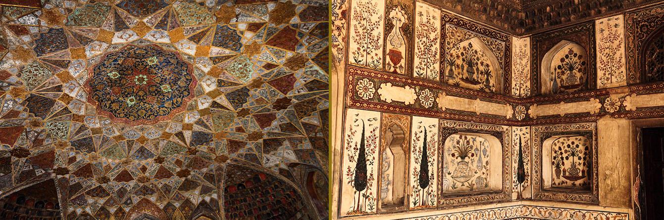 Фотография 2. Отделка внутреннего убранства гробницы Итимад-Уд-Даула в Агре. Отзывы туристов о путешествии по Золотому треугольнику Индии.