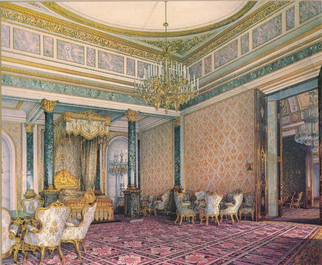 Спальня. Большой Кремлёвский дворец. Акварель К. А. Ухтомского, 1851