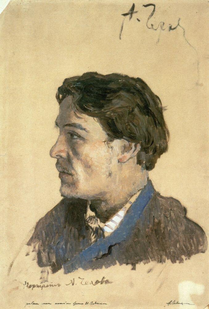 И. И.Левитан. Портрет А. П. Чехова. Эскиз. 1885-1886.