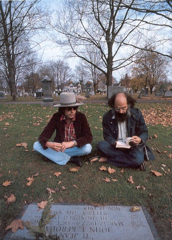 Dylan and Allen Ginsberg at Jack Kerouac's grave