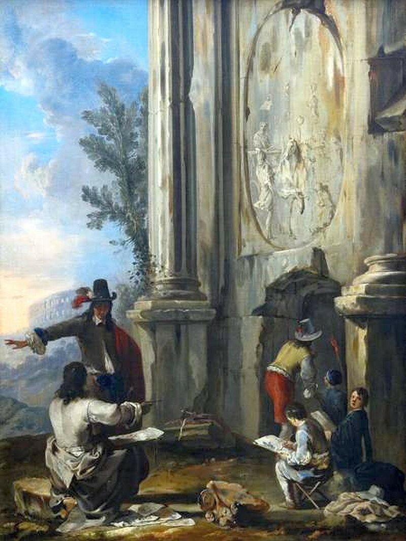 Schönfeld,_Johann_Heinrich_-_Zeichner_in_römischen_Ruinen_-_1634-1635.JPG