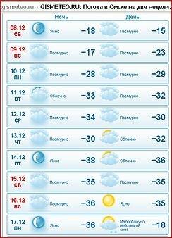 В Омске ожидается неделя 30-градусных морозов