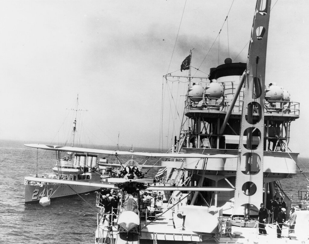 USS Indianapolis (CA-35). View at USS Sturtevant (DD-240), during the Presidential fleet review off New York City, 31 May 1934. A Curtiss O2U scout floatplane is on starboard catapult