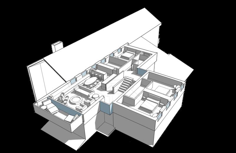 План второго этажа. Жилой дом с лестницей в центре, 200 кв.м