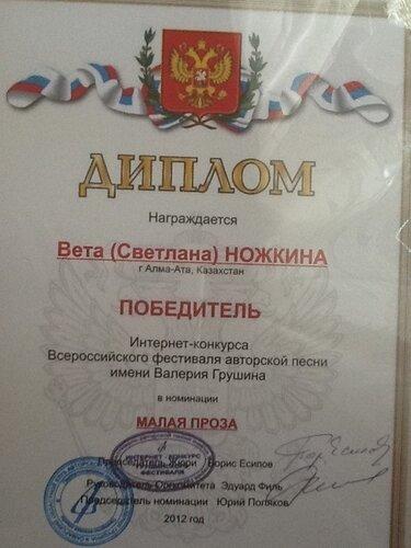 Диплом победителя Интернет-конкурса