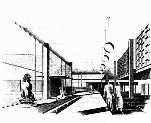 Гарвадр, Harkness Commons Harvard Graduate Center, архитектор Вальтер Гропиус, интерьер холла