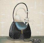 """Логинова Светлана. Картина на шелке -ДИПТИХ """"Модница-красавица на черной сумочке"""""""