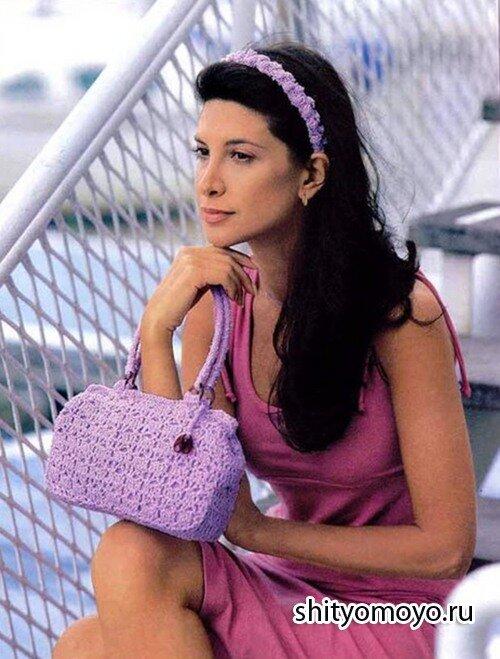 Сиреневые сумочка и повязка для волос, связанные крючком