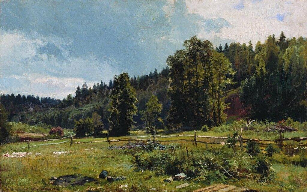 Луг на опушке леса. Сиверская. 1887 33,5х53,5.jpg
