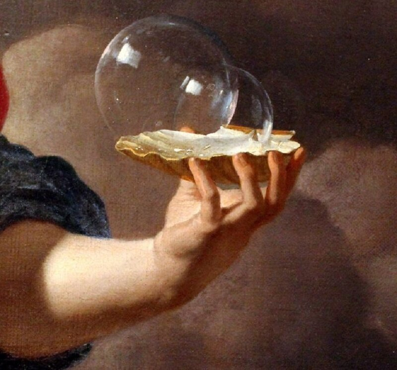 Karel Dujardin, Boy Blowing Soap Bubbles. Allegory on the Transitoriness and the Brevity of Life(detail),1668.