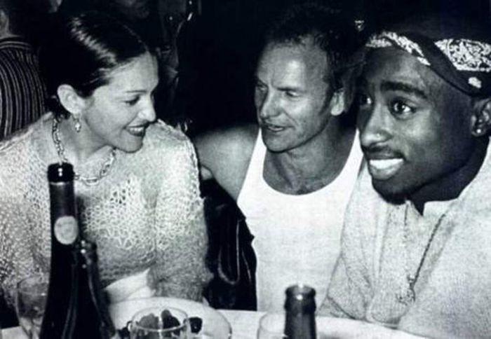 Мадонна, Стинг и Тупак Шакур вместе проводят свободное время.