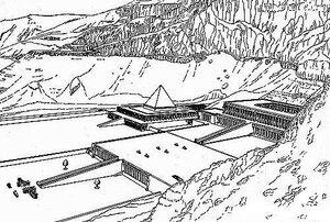 Храм царицы Хатшепсут, аксонометрия