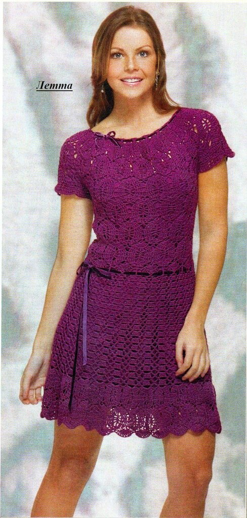 nataly-teplyakov. написала. jcomments on. рукодельницам. вязание.  Вязаное крючком платье схема. из инета.