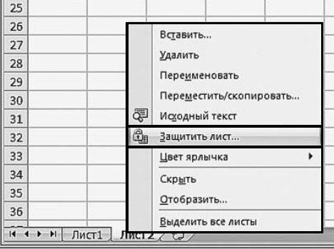 Рис. 2.62. Контекстное меню лис) та. Пункт «Защитить лист...»