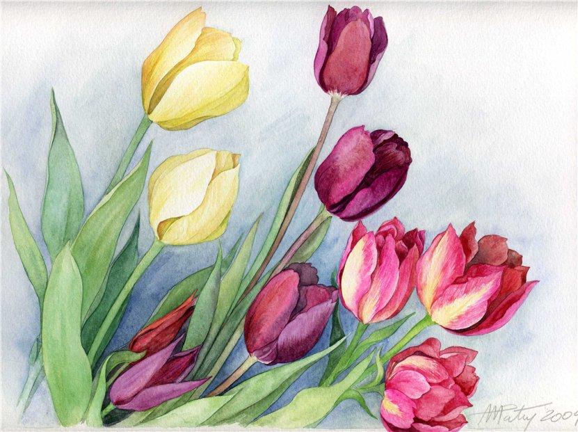 Весенние цветы красками