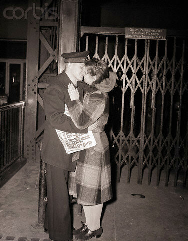 Sailor Kisses Girl Goodbye during WWII