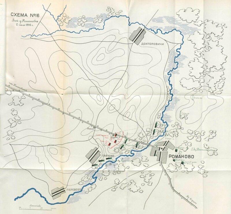 Бой у Романова 2 июля 1812 года.  (Источник карт: Иностранцев М. А. Отечественная война 1812 года.