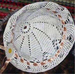 Летняя белая шляпка, связанная крючком