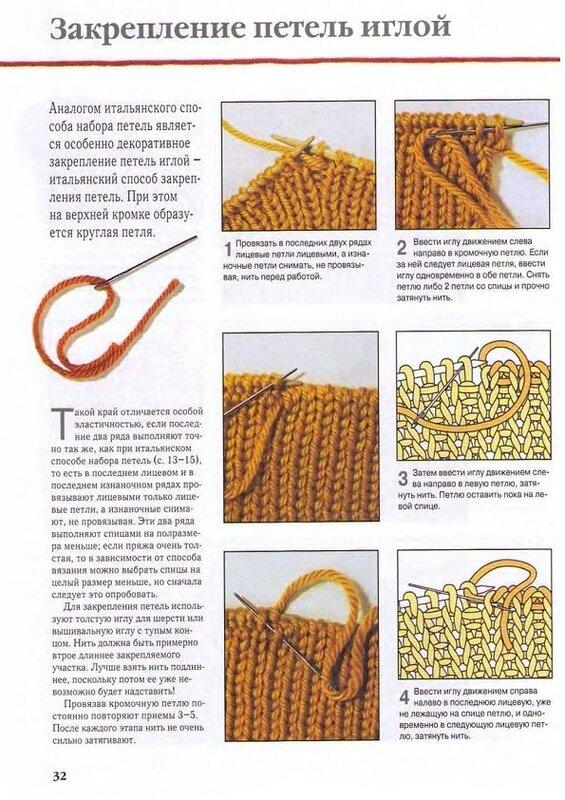 Как убирать петли при вязании спицами