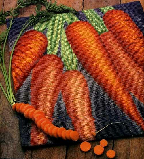 Схема вышивания крестом - Морковная подушка.