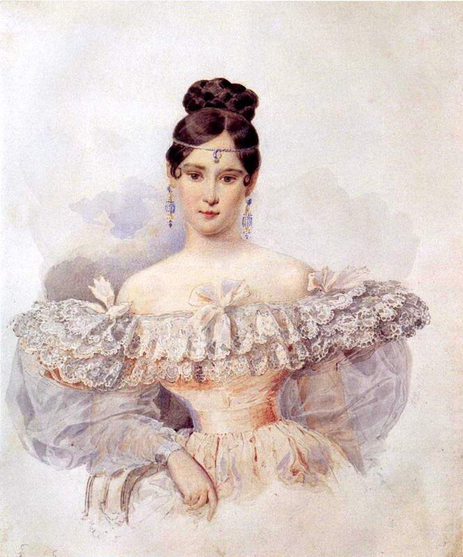 Брюллов А. П. ст. брат Карла. Портрет Н. Н. Пушкиной. Конец 1831 начало 1832г.