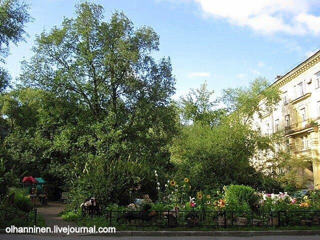 Частный садик в общественном дворе Санкт-Петербурга на Сестрорецкой улице