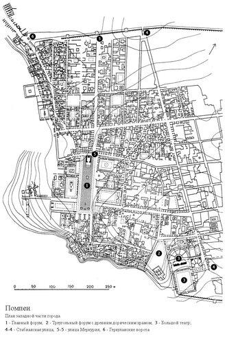 Помпеи, генплан западной части города