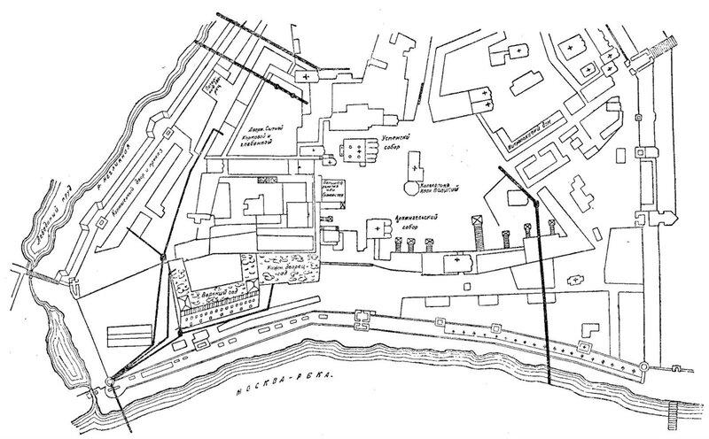 Рисунок 67. План части Кремля XVII века с водопроводами и каналами (вариант реконструкции).