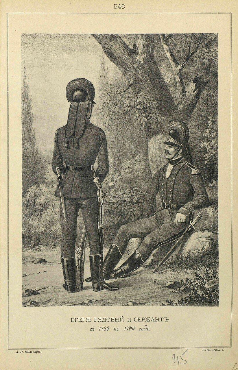 546. ЕГЕРЯ: РЯДОВОЙ и СЕРЖАНТ с 1786 по 1796 год.