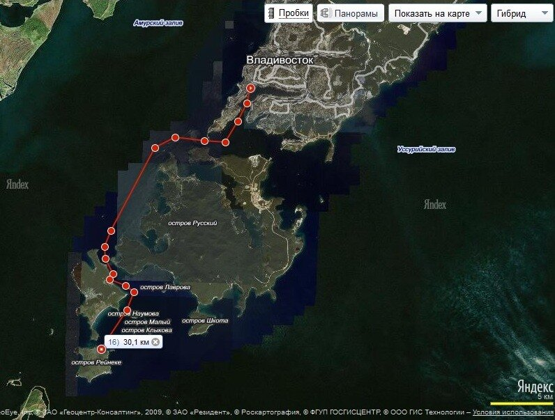 Схема маршрута Владивосток - о.Рейнеке