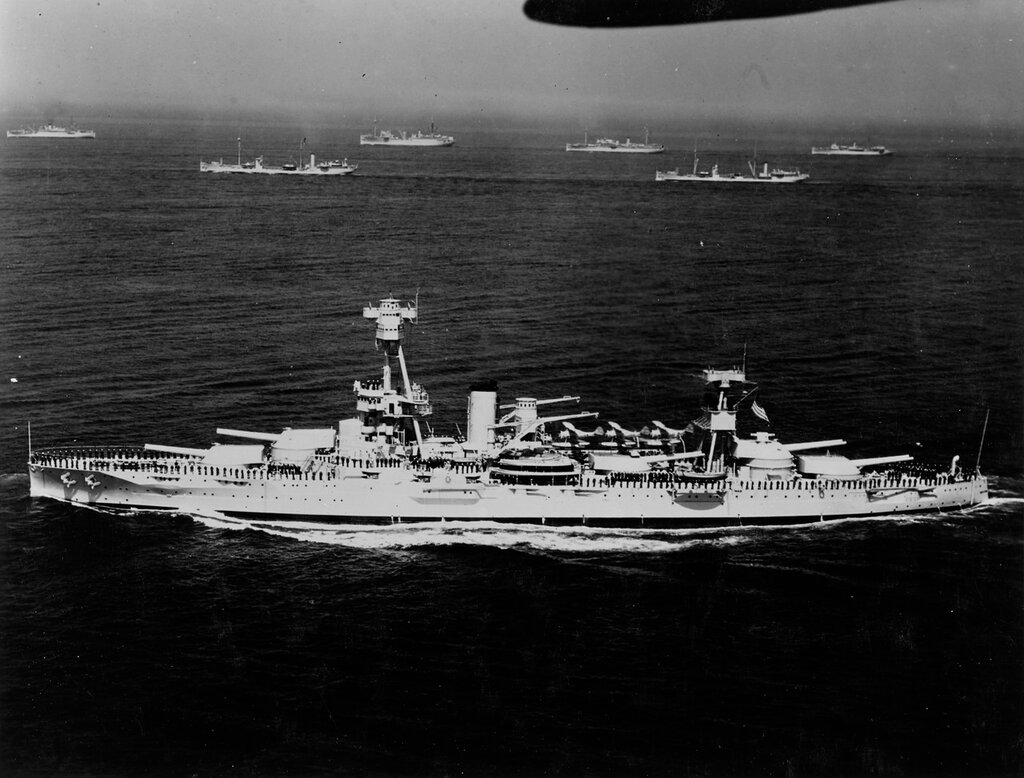 USS NEW YORK (BB-34) At fleet review in New York, 31 May 1934