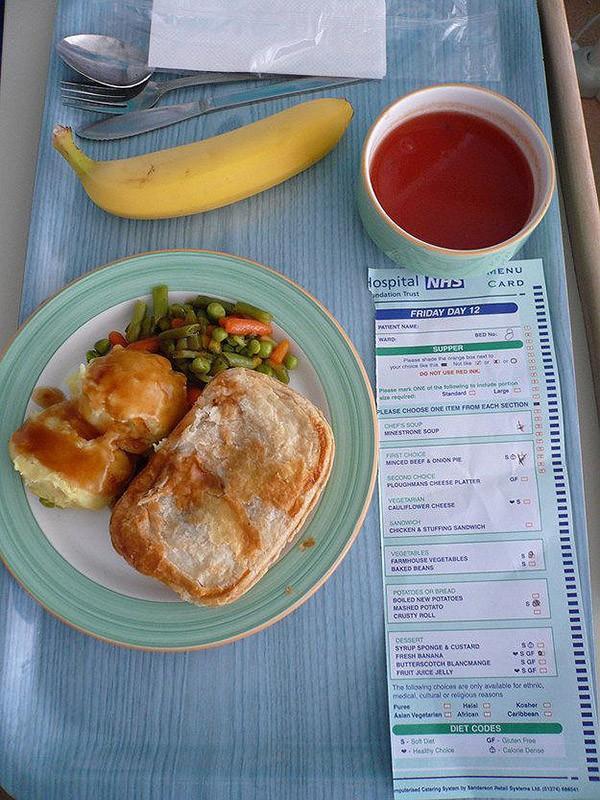 12. Великобритания: суп минестроне, пирог с говядиной и луком, тушеные овощи, банан.