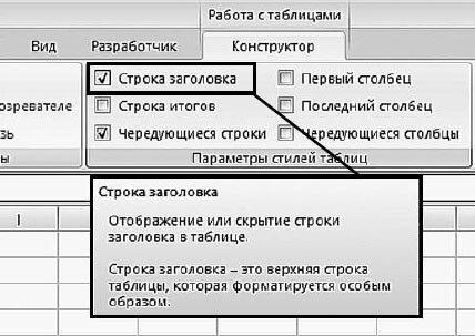 Рис. 5.5. Вкладка «Конструктор». Значение «Строка заголовка»