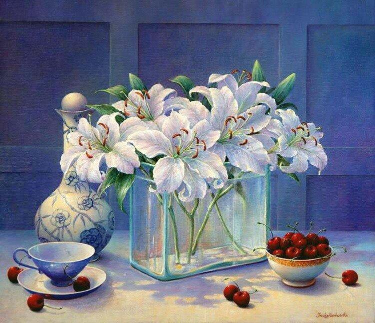 Цветы и фрукты на холсте. Trisha Hardwick