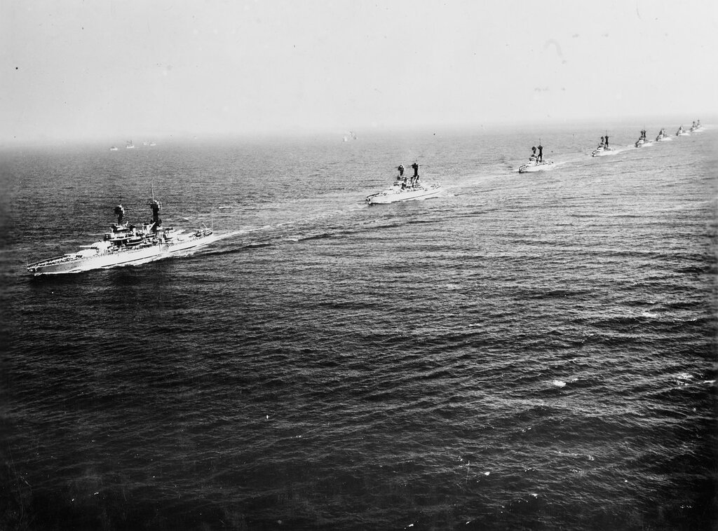 Battleships in formation during fleet review at New York on 31 May 1934