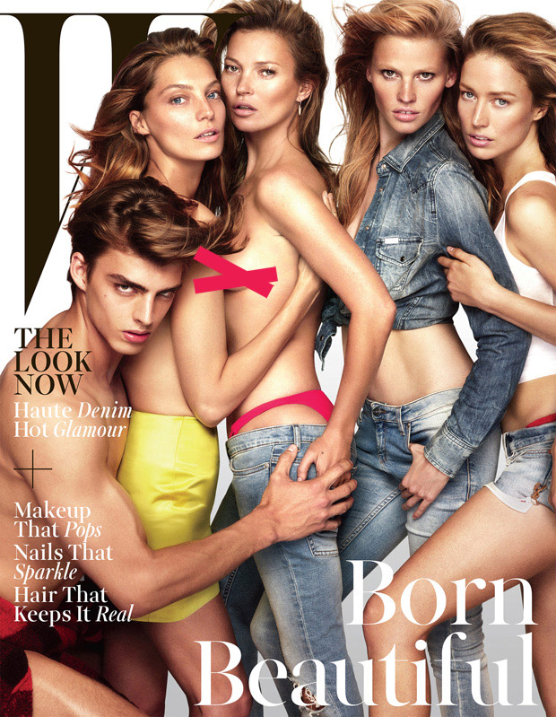 Дарья Вербова (Daria Werbowy), Лара Стоун (Lara Stone) и Кейт Мосс (Kate Moss) в журнале W Magazine
